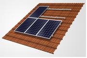 On-roof solar panel frame