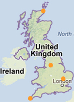 Map of location in the UK for solar comparison